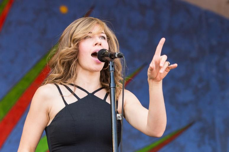 Rachael Price of Lake Street Dive at New Orleans Jazz & Heritage Festival at Fair Grounds Race Track on May 5, 2017, in New Orleans, Louisiana (Photo by Daniel DeSlover/imageSPACE) *** Please Use Credit from Credit Field ***
