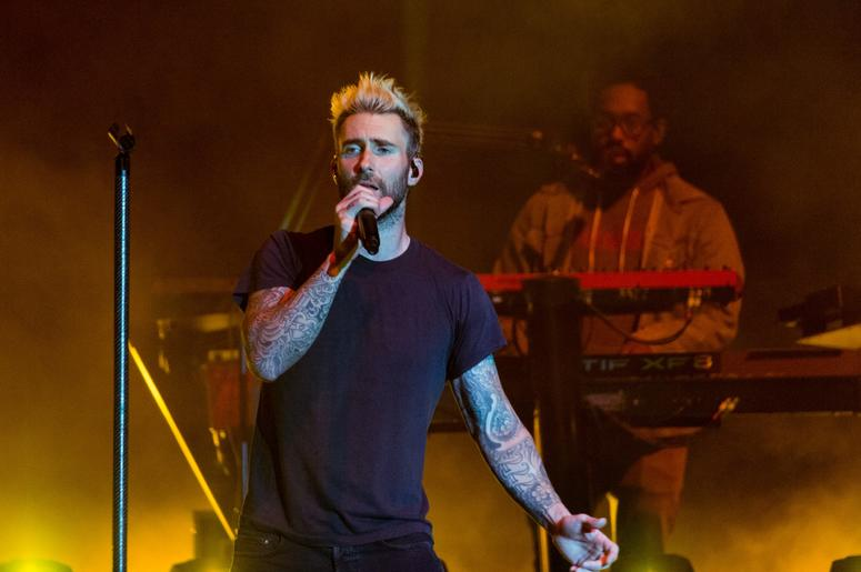 Adam Levine and PJ Morton of Maroon 5 during the BottleRock Napa Valley Music Festival on May 26, 2017, in Napa, California (Photo by Daniel DeSlover/imageSPACE) *** Please Use Credit from Credit Field ***
