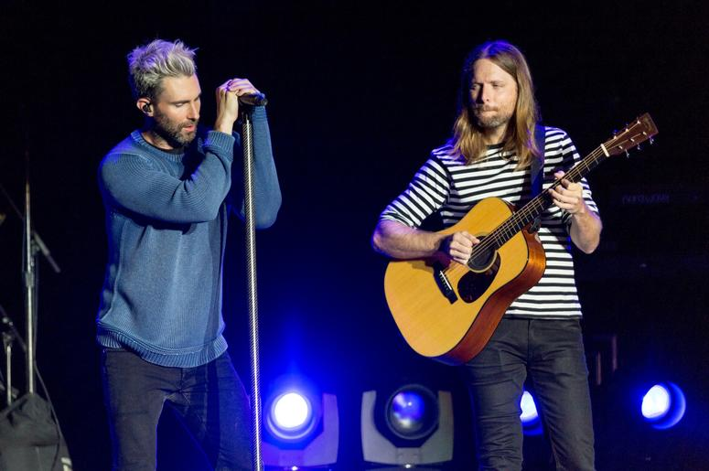 Adam Levine and James Valentine of Maroon 5 during the BottleRock Napa Valley Music Festival on May 26, 2017, in Napa, California (Photo by Daniel DeSlover/imageSPACE) *** Please Use Credit from Credit Field ***