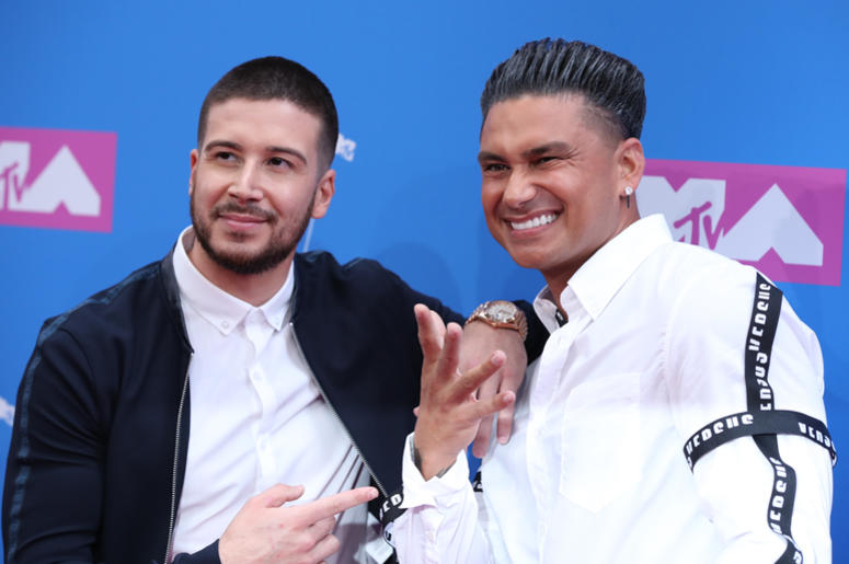 Vinny Guadagnino and Pauly D walking on the red carpet at The 2018 MTV Video Music Awards held at Radio City Music Hall in New York, NY on August 20, 2018. (Photo by Anthony Behar/Sipa USA)