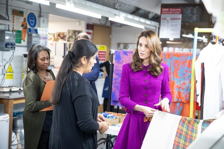 1/16/2019 - The Duchess of Cambridge in the Dye Department with Parveen Banga, Head of Dye Department during her visit to the Royal Opera House in London. (Photo by PA Images/Sipa USA) *** US Rights Only ***