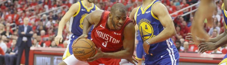 Houston Rockets guard Chris Paul (3) drives against Golden State Warriors guard Quinn Cook (4) in the second half in game six of the second round of the 2019 NBA Playoffs at Toyota Center.