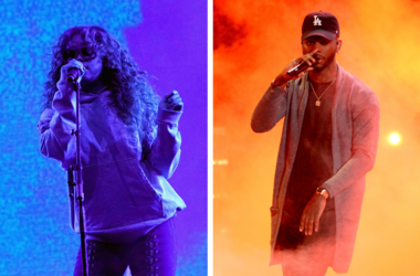 H.E.R. performs at the STAPLES Center Concert during the 2017 BET Experience at LA Live on June 23, 2017 in Los Angeles, California/Bryson Tiller performs on the 2016 BET Awards at the Microsoft Theatre on June 26, 2016, in Los Angeles, California.