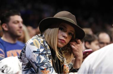 Faith Evans, widow of Biggie Smalls, attends the Brooklyn Nets game against New York Knicks at Barclays Center.