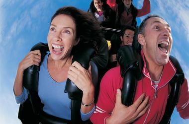 Couple Riding Roller Coaster