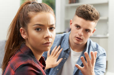 girl annoyed by boy
