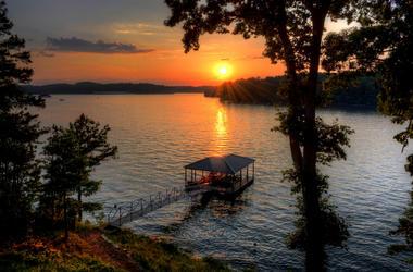 dock on scenic lake