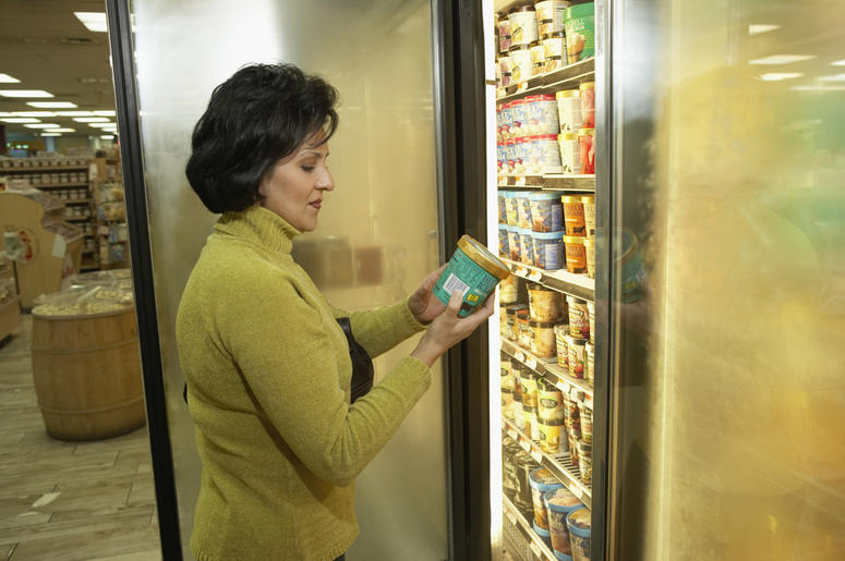 woman looking at ice cream