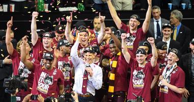 Loyola celebrates its win against Kansas State in the Elite Eight