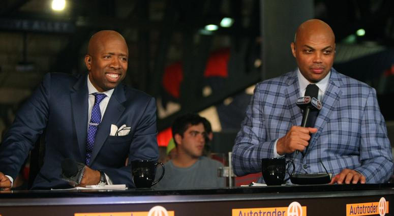 TNT broadcasters Kenny Smith, left, and Charles Barkley