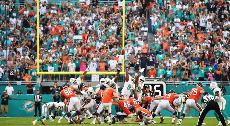 Bears kicker Cody Parkey (1) misses a game-winning field goal attempt in overtime in a loss to the Dolphins.