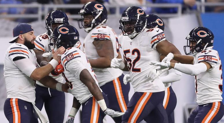 7fca4508d The Bears celebrate after safety Eddie Jackson (39) returned an  interception for a touchdown
