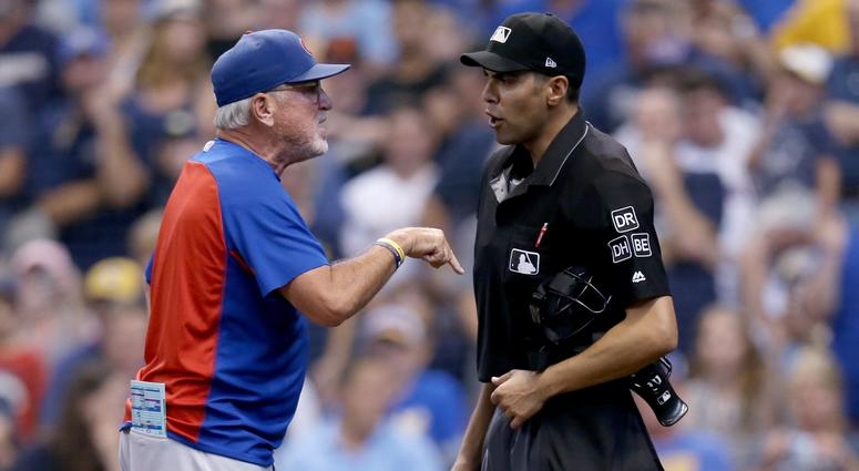 Cubs manager Joe Maddon argues with umpire David Rackley after being ejected.