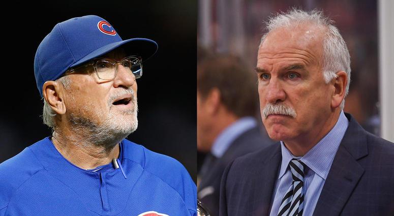 Left: Cubs manager Joe Maddon. Right: Former Blackhawks coach Joel Quenneville.