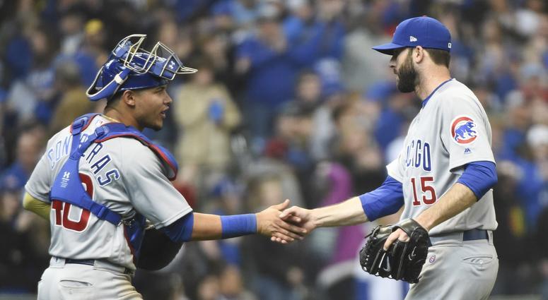 Cubs catcher Willson Contreras, left, and closer Brandon Morrow