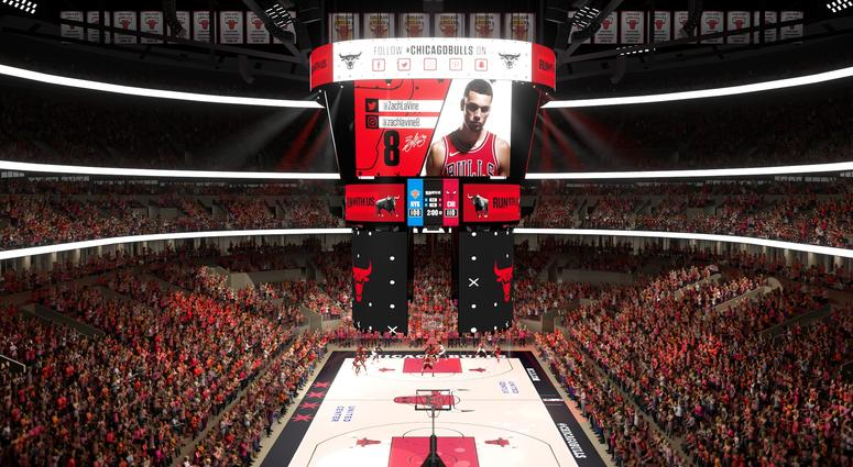 Rendering of the new United Center scoreboard that will be installed for the 2019-'20 seasons.