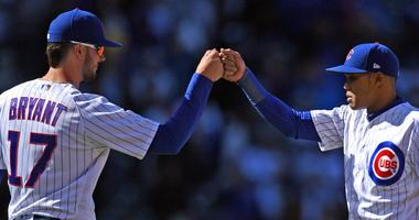 Cubs third baseman Kris Bryant, left, and shortstop Addison Rusell