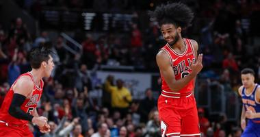 Bulls guard Coby White (0) reacts after scoring against Knicks.