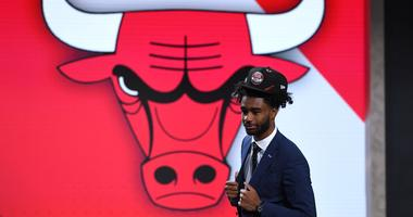 Coby White takes the stage at the Barclays Center after the Bulls drafted him No. 7 overall.