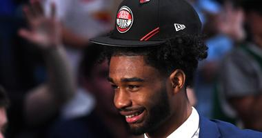 Coby White reacts after the Bulls selected him No. 7 overall in the NBA Draft.
