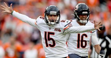 Bears kicker Eddy Pineiro celebrates his game-winning field goal to beat the Broncos.