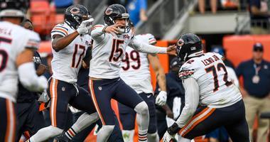 Bears kicker Eddy Pineiro (15) celebrates after kicking a game-winning field goal against the Broncos.