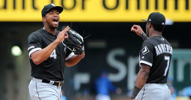 White Sox outfielder Eloy Jimenez, left, and shortstop Tim Anderson