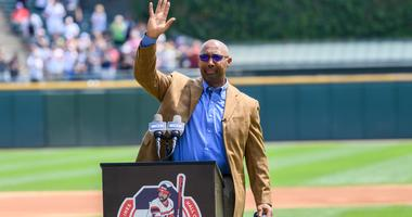 Former White Sox player Harold Baines is honored during a ceremony that commemorated his Hall of Fame induction.