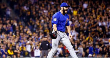 Jake Arrieta reacts after leading the Cubs to a win in the wild-card game in 2015.