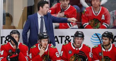 Blackhawks coach Jeremy Colliton directs his team.
