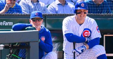 Cubs manager Joe Maddon, left, and first baseman Anthony Rizzo