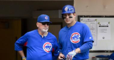 Cubs manager Joe Maddon, left, and first baseman Anthony Rizzo.