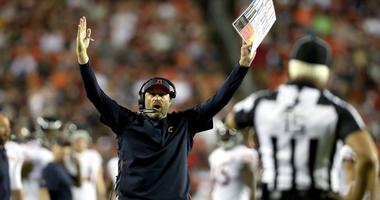 Bears coach Matt Nagy questions an official's call with a touchdown signal against the Redskins.