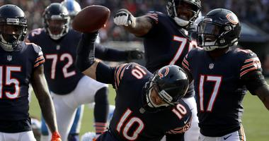 Bears quarterback Mitchell Trubisky celebrates after a touchdown.