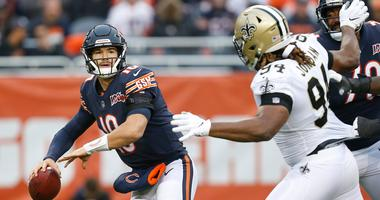 Bears quarterback Mitchell Trubisky looks to pass against the Saints.