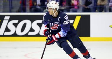 Blackhawks winger Patrick Kane with Team USA at the Hockey World Championships