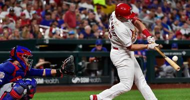 Cardinals first baseman Paul Goldschmidt hits a homer against the Cubs.