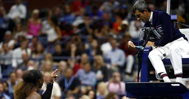 Serena Williams argues with chair umpire Carlos Ramos after a loss in the U.S. Open final.