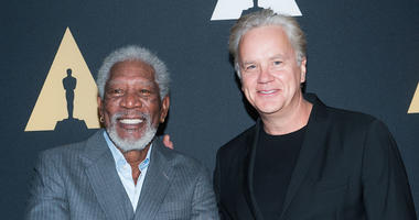 Morgan Freeman, left, and Tim Robbins at the 20th anniversary screening of Shawhawk Redemption.