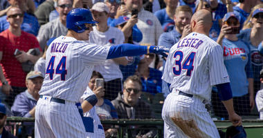 Cubs first baseman Anthony Rizzo (44) and left-hander Jon Lester (34) celebrate.