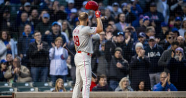 Phillies right-hander Jake Arrieta gets a standing ovation from Cubs fans at Wrigley Field.