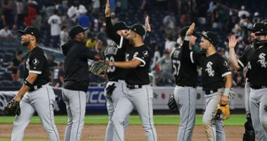 The White Sox celebrate a win against the Yankees.