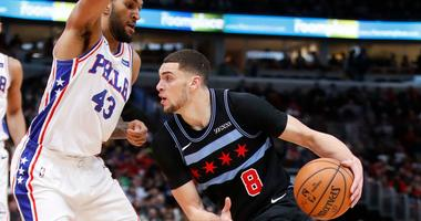 Bulls guard Zach LaVine drives to the basket in a win against the 76ers.
