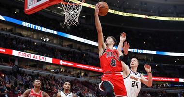 Bulls guard Zach LaVine drives to the basket.
