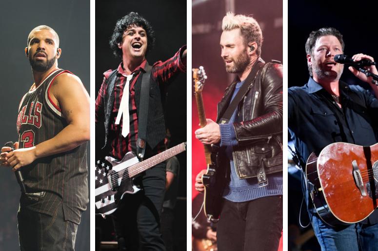 Drake, Billie Joe Armstrong, Adam Levine and Blake Shelton