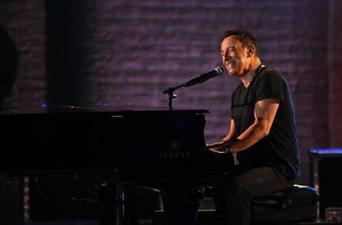Bruce Springsteen performs a portion of his solo show Springsteen on Broadway
