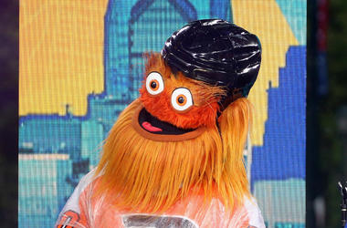 "PHILADELPHIA, PA - JUNE 13: Philadelphia Flyers mascot Gritty attends ABC's ""Good Morning America"" Live From Philadelphia broadcast at the steps of the Philadelphia Art Museum on June 13, 2019 in Philadelphia, Pennsylvania."