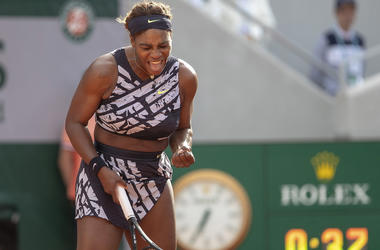Serena Williams celebrating during her first round match at the 2019 French Open