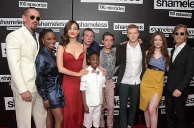 "Steve Howey, Shanola Hampton, Emmy Rossum, Jeremy Allen White, Christian Isaiah, Ethan Cutkowsky, Cameron Monaghan, Emma Kenney and William H. Macy attend the celebration of the 100th episode of Showtime's ""Shameless"" at DREAM Hollywood on June 9, 2018 in"
