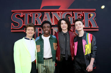 "SANTA MONICA, CALIFORNIA - JUNE 28: (L-R) Gaten Matarazzo, Caleb McLaughlin, Finn Wolfhard, and Noah Schnapp attend the ""Stranger Things"" Season 3 World Premiere on June 28, 2019 in Santa Monica, California."
